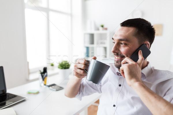 Empresario llamando oficina gente de negocios comunicación Foto stock © dolgachov