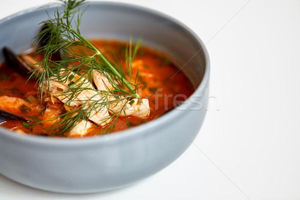 Közelkép tengeri hal leves hal étel új Stock fotó © dolgachov