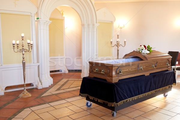 wooden coffin at funeral in orthodox church Stock photo © dolgachov