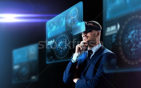 Сток-фото: бизнесмен · виртуальный · реальность · гарнитура · деловые · люди · современных