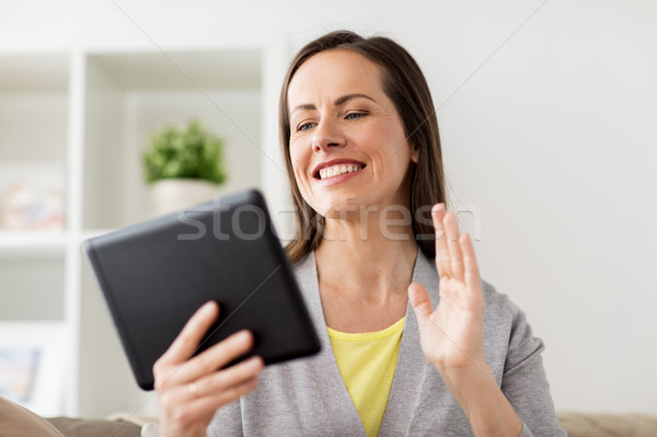 happy woman having video chat on tablet pc at home Stock photo © dolgachov
