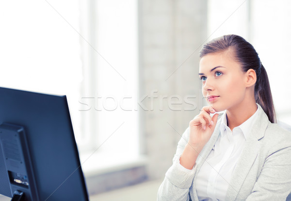Peinzend vrouw kantoor heldere foto business Stockfoto © dolgachov