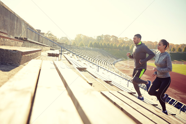 çift çalışma üst katta stadyum uygunluk spor Stok fotoğraf © dolgachov