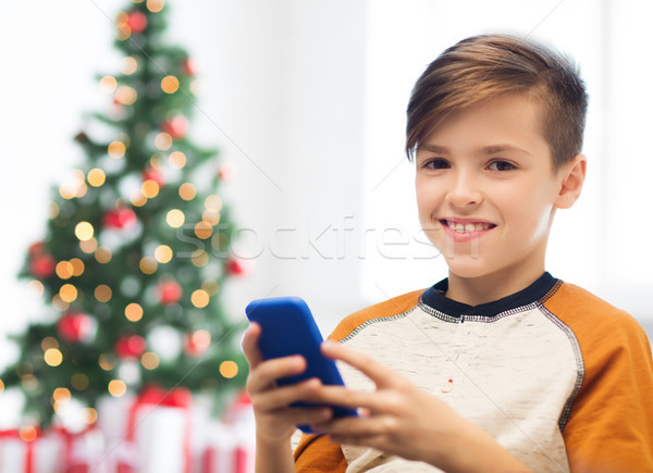 Smartphone Weihnachten Kinder Technologie Stock foto © dolgachov