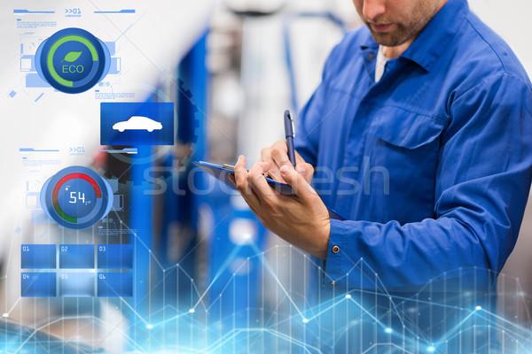 Mechanik samochodowy schowek naprawa samochodów sklep auto usługi Zdjęcia stock © dolgachov