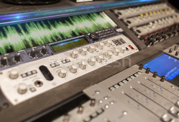 music mixing console at sound recording studio Stock photo © dolgachov