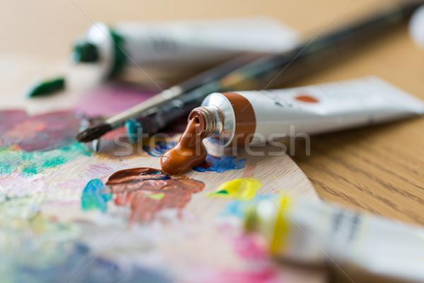 Acrylique couleur peinture palette Photo stock © dolgachov