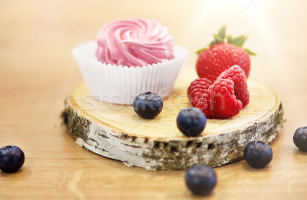 zephyr or marshmallow with berries on stand Stock photo © dolgachov