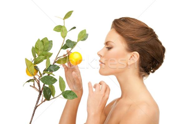 Stockfoto: Vrouw · citroen · takje · foto · gezicht · vruchten