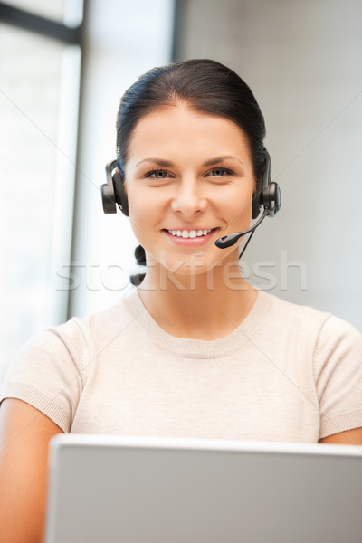 Stock photo: helpline operator with laptop computer