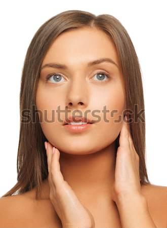 Zdjęcia stock: Piękna · kobieta · długie · włosy · twarz · ręce · kobieta · portret