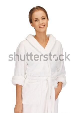 Mooie vrouw witte badjas foto vrouw gelukkig Stockfoto © dolgachov