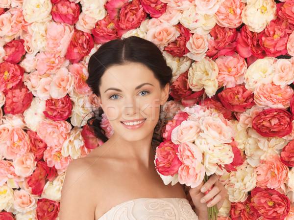 Frau voll Rosen Porträt schöne Frau Blumen Stock foto © dolgachov