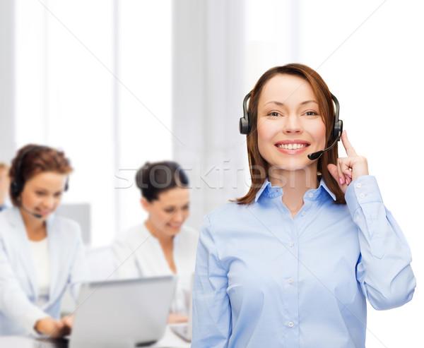 Barátságos női segélyvonal kezelő iroda üzlet Stock fotó © dolgachov