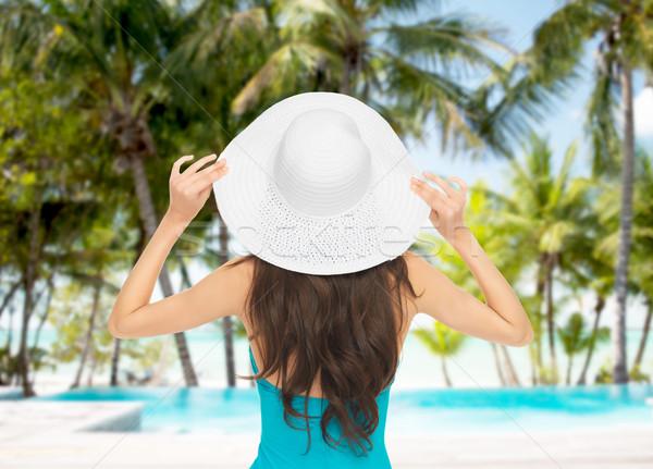 Model mayo şapka yaz tatili plaj su Stok fotoğraf © dolgachov