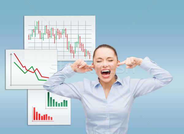 Zangado gritando empresária negócio escritório estresse Foto stock © dolgachov