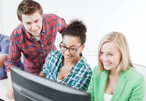 Stockfoto: Studenten · computer · studeren · school · onderwijs · vrouw