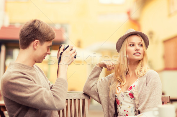couple taking photo picture in cafe Stock photo © dolgachov
