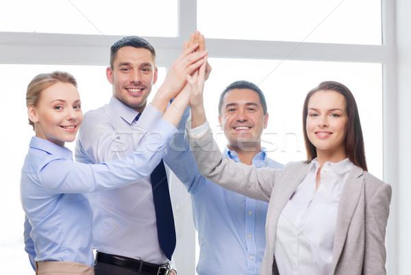 Stockfoto: Gelukkig · business · team · high · five · kantoor · succes · business