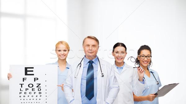 Gülen göz doktorlar sağlık vizyon Stok fotoğraf © dolgachov