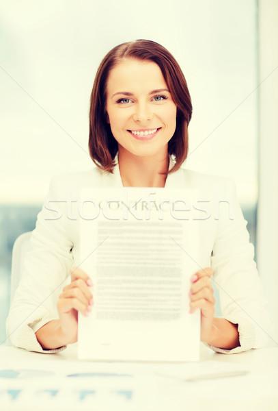 Gelukkig zakenvrouw contract business onderwijs Stockfoto © dolgachov