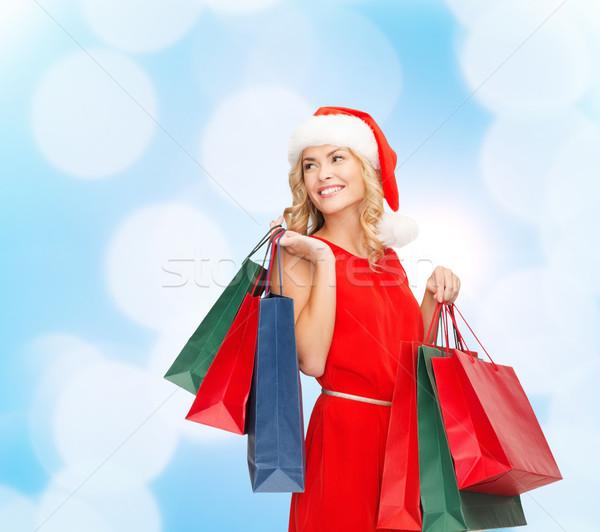 Stock fotó: Nő · mikulás · segítő · kalap · bevásárlótáskák · vásár