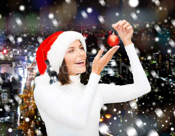 女性 サンタクロース ヘルパー 帽子 クリスマス ボール ストックフォト © dolgachov
