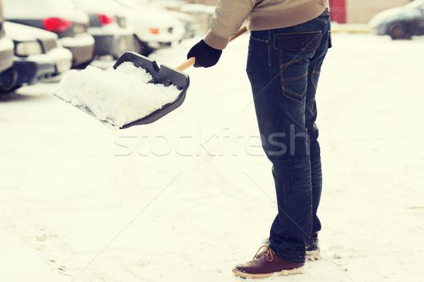 Adam kar özel araba yolu kış temizlik Stok fotoğraf © dolgachov