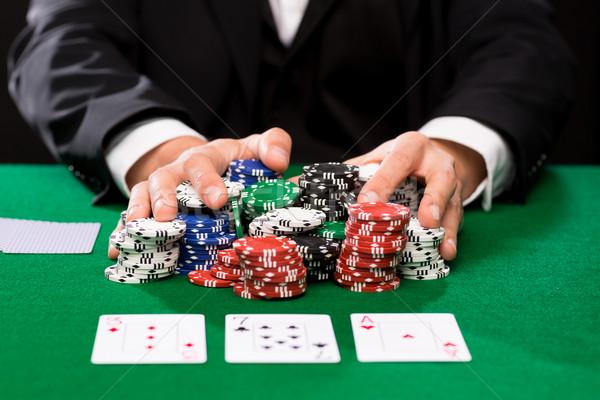 Stok fotoğraf: Poker · oyuncu · kartları · cips · kumarhane · kumar
