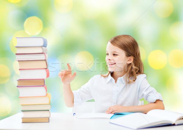 Mutlu kız kitaplar defter okul eğitim insanlar Stok fotoğraf © dolgachov