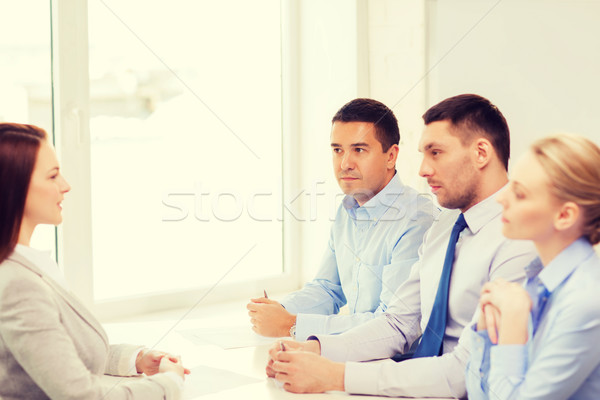 businesswoman at interview in office Stock photo © dolgachov