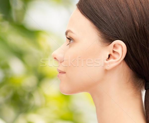 Gyönyörű fiatal nő arc zöld egészség emberek Stock fotó © dolgachov