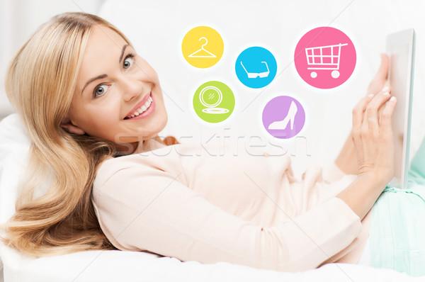 Stockfoto: Gelukkig · vrouw · laptop · winkelen · online · home