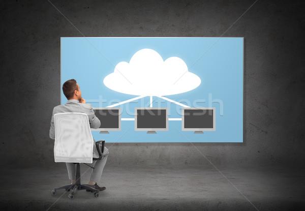 ビジネスマン 事務椅子 雲 サーバー ビジネスの方々  データ ストックフォト © dolgachov