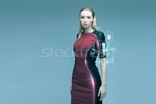 красивой футуристический женщину виртуальный проекция люди Сток-фото © dolgachov