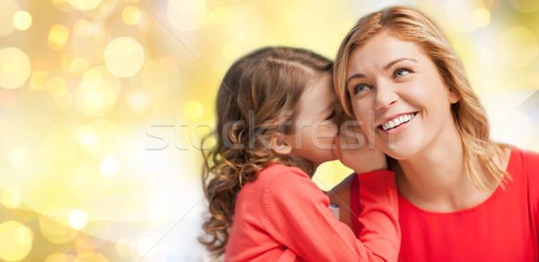 Boldog anya lány suttog fül emberek Stock fotó © dolgachov