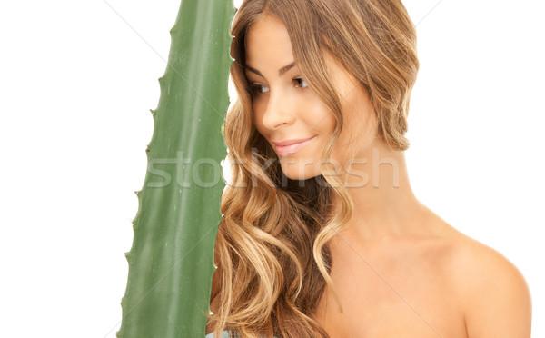 женщину алоэ фотография лице счастливым здоровья Сток-фото © dolgachov