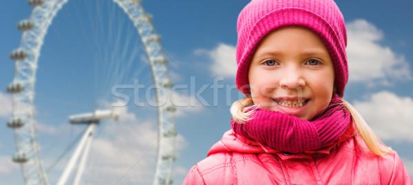 Gelukkig meisje portret pont wiel najaar Stockfoto © dolgachov