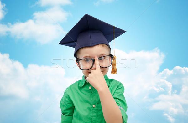 学士 帽子 眼鏡 幼年 学校 ストックフォト © dolgachov