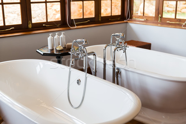 close up of bathroom with two bathtubs Stock photo © dolgachov