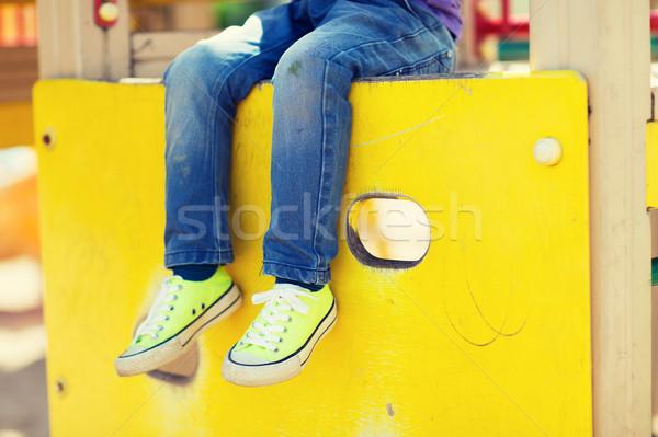 Közelkép fiú lábak gyerekek játszótér nyár Stock fotó © dolgachov