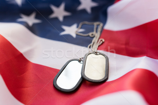 close up of american flag and military badges Stock photo © dolgachov