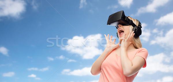 Frau Wirklichkeit Headset 3D-Brille Technologie Stock foto © dolgachov
