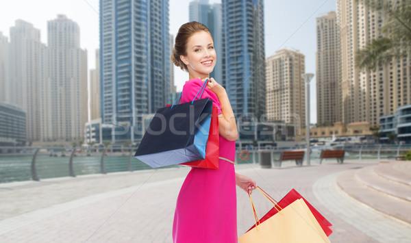 Gelukkig vrouw Dubai stad mensen Stockfoto © dolgachov