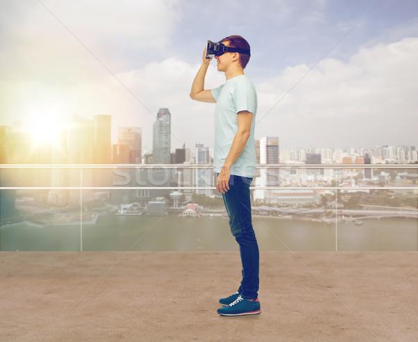 ストックフォト: 幸せ · 男 · バーチャル · 現実 · ヘッド · 3dメガネ