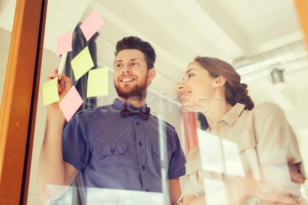 Kreatív csapat matricák üveg iroda üzlet Stock fotó © dolgachov