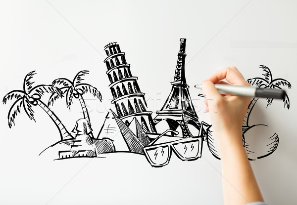close up of hand drawing touristic landmarks Stock photo © dolgachov
