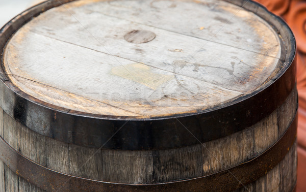 close up of old wooden barrel table outdoors Stock photo © dolgachov