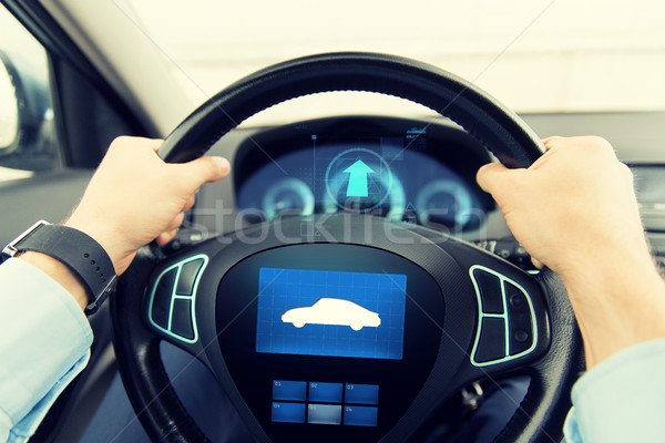 close up of man driving car with icon on computer Stock photo © dolgachov