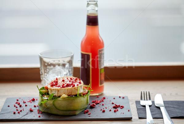 Салат бутылку пить стекла приборы таблице Сток-фото © dolgachov